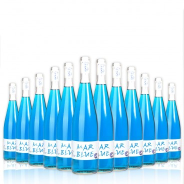 PACK DE 12 BOTELLAS DE VINO AZUL, MAR BLUE.