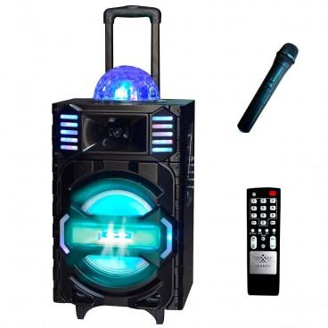 """Altavoz trolley karaoke con bluetooth con altavoz de 10"""" y 40W"""