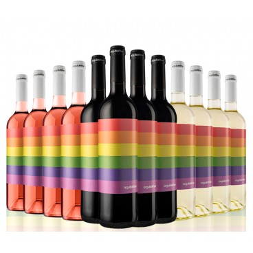 "12 BOTTLES ""PRIDEWINE"", 4 RED, 4 WHITE AND 4 ROSÉ WINE. Let´s celebrate love!"