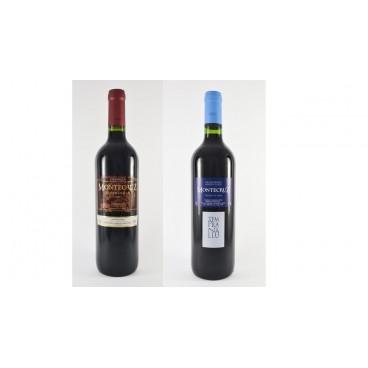 "12 bottles of spanish red Tempranillo La Mancha wine ""Montecruz"" young and crianza D.O. Valdepeñas"