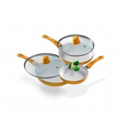 Set 3 Sartenes Cerámica, 2 tapas 28, 24 y 20 cm para todo tipo de cocinas