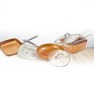 Juego de sartenes 11 piezas con recubrimiento de cobre