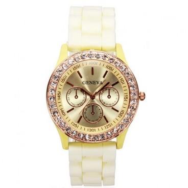Reloj de Pulsera Geneva Analógico Con Cristales Decorativos Correa de Silicona